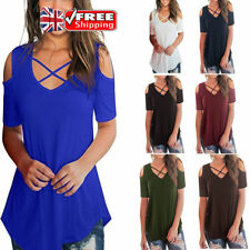 UK Plus Size Womens Loose Casual Tops Cold Shoulder T-Shirts Cross Front Blouse