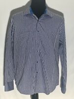 Robert Graham Blue White Striped Size Large Classic Fit Long Sleeve Dress Shirt