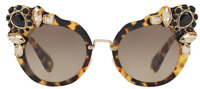Miu Miu Damen Sonnenbrille SMU04S 7S0-3D0 52mm braun gold Strasssteine G DS03 H