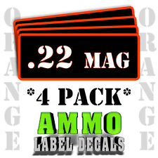 """.22 Mag Ammo Label Decals for Ammunition Case 3"""" x 1"""" Can stickers 4 PACK -OR"""