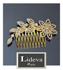 Luxus Haarkamm Kristall Steckkamm  Einsteckkamm Blumen Paris Gold/Klar Farbe