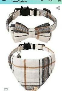 Faleela Cat Collar Bandana Bells Set - 2/1 Pack Set Cat Collar Bow 2 pc used