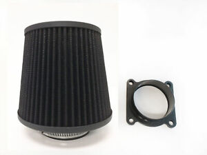 BLACK Air Intake Filter + MAF Sensor Adapter For 02-04 Infinti I35 3.5L V6