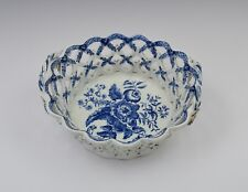 18thC Lowestoft Porcelain Chestnut Basket Pinecone Pattern