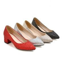 Women Shiny Glitter Party Bridal Shoes Mid Block Heel Pointed Pumps AU Size D129