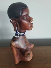 Vintage Beaded Kenyan Maasai African Sculpture Woman Carved Wood Tribal Bust