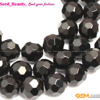 """Faceted Natural Stone Black Agate Onyx Gemstone Jewelry Making Beads Strand 15"""""""