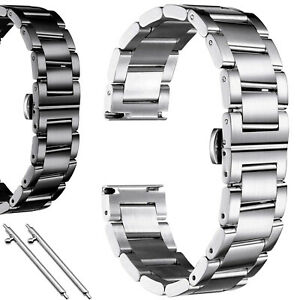 Edelstahl Massiv Glieder-Uhrenarmband 16. 18. 20. 22. 24. 26 mm Silbern Schwarz