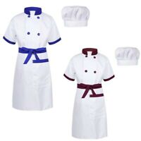 Children Chef Fancy Dress Boys Girls Apron Uniform Cooking Baking Outfit Hat Set