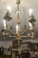 Antique gilt bronze chandelier. Hand decorated ceramic sconces. Wired & working.