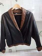 Used Franco Pugi Buttery Soft Black & Brown Dolman Sleeve Leather Jacket Italy