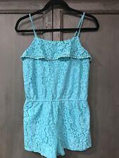 Xhilaration Girls XL 14/16 Green Crochet Lace Overlay Summer Romper