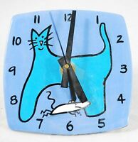 Cat & Mouse - Clock Wall or Shelf Desk Table - Glazed Pottery - One of a Kind