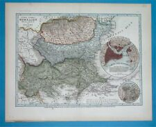 1850 RARE ORIGINAL MAP BULGARIA WALLACHIA ROMANIA GREECE TURKEY CONSTANTINOPLE