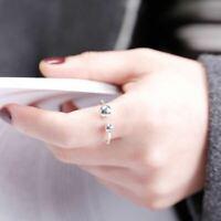 Damen Ring Doppel Kugeln echt Sterling Silber 925 größenverstellbar 47-54 offen