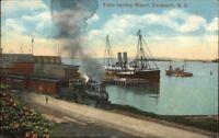 Yarmouth NS RR Train Leaving Wharf c1915 Postcard