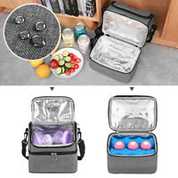 9L Portable Insulated Thermal Cooler Lunch Box Carry Tote Picnic Bag Double-deck