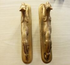 2x Brass Door Handles Dog Figurine Vintage Pull Hand Collectibles Home Decor