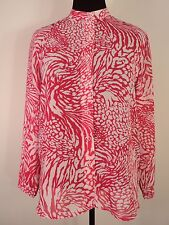 DRAPER & DAMON Shirt Top LARGE PETITE Pink White L/S NWT FREE SHIPPING