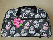 🔥🔥NEW Betsey Johnson Dia De Los Muertos Skulls Weekender Travel Duffle Bag