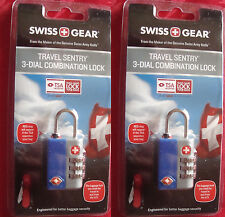 TWO Swiss Gear Travel Sentry 3 Dial Combination Locks (T S A APPROVED)
