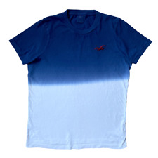 HOLLISTER Classic Blue & White Gradient Two Tone Crew Neck T Shirt Tee | Large L