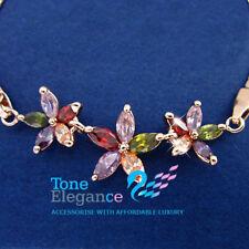 9ct 9k gold GF crystal flower chain solid Bracelet bangle made with swarovski