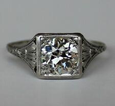 1.20ct Old Euro Diamond Solitaire Platinum Filigree Ring~ w/ Appsl $6975 sz 7.25