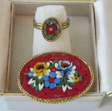 Lot Vtg Oval Red Micromosaic Micro Mosaic Tile Floral Pin Brooch Adjustable Ring