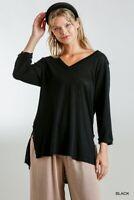 Umgee Black Linen Blend V-Neck 3/4 Sleeve Tunic Top Size S M L