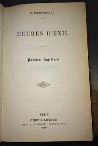 CURIOSITÉ. F.CAMPADELLI.HEURES D'EXIL. FRANC-MAÇONNERIE.
