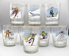 8 Ashby Skier Skiing Ski Cartoon Old Fashioned Tumblers 12 oz WV Glass Barware