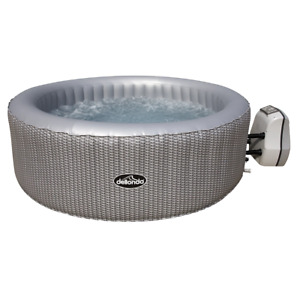 Dellonda 4-6 Person Inflatable Hot Tub Spa with Smart Pump - Grey Rattan Effect