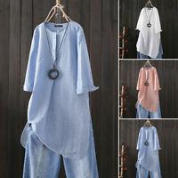 ZANZEA Women Long Sleeve High Split Shirt Tops Buttons Neck Jumper Blouse Plus