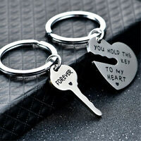 HN- 2x You Hold The Key To My Heart Forever Keychain Keyring Couple Lover Gift U