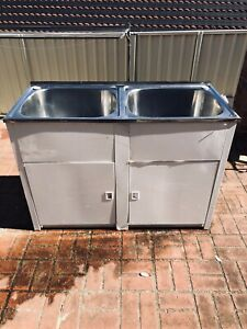 Douple bowl Steel laundry tub with cabinet