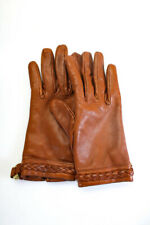Mulberry Womens Gold Tone Hardware Braided Trim Leather Gloves Brown