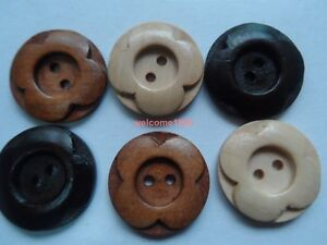 Lot 120pcs Colour 25mm ladyscoat Sewing scrapbooking flower round wood button