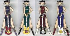 Hard Rock Cafe TAIPEI 1999 4 Chinese Waitress with Guitar PINS Pin Set 9597-9600