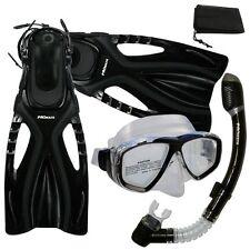 Snorkeling Dive Mask Dry Snorkel Fins Gear Package Set