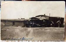 Antique Photo Post Card 1896 Soddie & Dugout LARGE Sod House & Barn