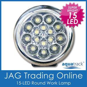 12V 15-LED WHITE ROUND DRL WORK LAMP -For Caravan/Car/Boat/Daytime Running Light