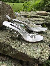 NINA Cinderella Sandals -Clear Vinyl Wedge Heels with Rhinestones 9.5M GORGEOUS!