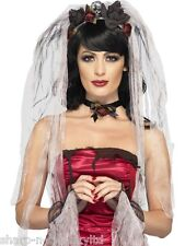 Ladies Instant Dead Zombie Bride Veil Halloween Fancy Dress Costume Outfit Kit