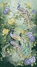 Peacocks Sage Feathers Silver Metallic Highlights Cotton Quilting Fabric Panel