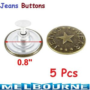 5x Denim Jeans Jeggings 20mm Tack Buttons Jacket Repair Replace Kids Women Mens