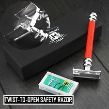 Twist opening Butterfly Style Long Handle Double Edge Safety Razor in Red Handle
