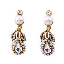 E1003 Betsey Johnson Gatsby Downton Abbey Shell Crystal Drop Pearl Earrings  US