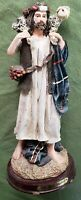 "Jesus ""The Good Shepherd"" Religious Resin Statue Figurine statue Wooden Base 10"""