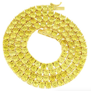 4mm 1 Row Tennis Necklace 14K Gold Finish Yellow Canary Lab Diamonds 24 inches